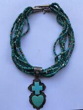 VTG 7 Strand Turquoise Necklace Sterling Silve Gary G Cross/heart Pendant Navajo