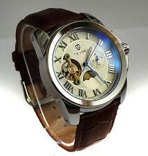 Elegante 44mm Tourbillon Automático complicación GMT Reloj de vestir de acero pulido