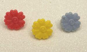 Authentic Littlest Pet Shop Pink Yellow Blue Flower Clip Accessories