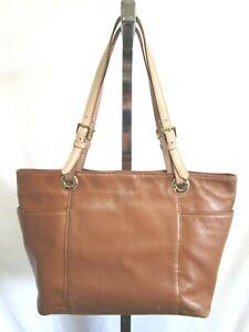 Michael Kors Medium Size Brown Leather Nude Straps Shoulder Tote Handbag