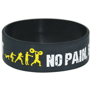 No Pain No Gain Everybody Fit Silicone Wristband Sports Motto Rubber Bracelets