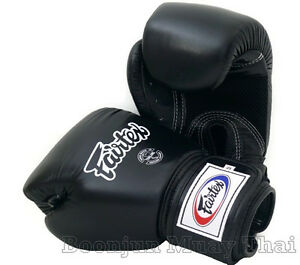 Fairtex Muay Thai Boxing Gloves BGV1 BR Breathable Black K1 Training Sparing Air