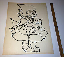 Old Vintage Drawing of Red Riding Hood Puppy Dog! Children's Artist D. Carothers