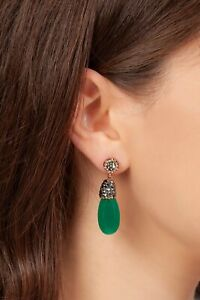 AAA QUALITY STERLING 925 SILVER LADY JEWELRY GREEN AGATE EARRINGS