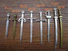 8/40pcs Antique silver/bronze Heavy Long Sword Knife Charms Pendant 3116