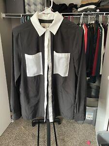 michael kors size medium white and black colorblock button up shirt