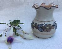 Vintage Studio Pottery Vase Blue Glazed Floral Wavy Rim