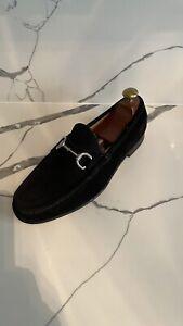 100% Genuine Men's Black Suede Gucci Loafers Silver Hardware Uk Size 7 EU 41