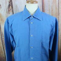 Zegna Sport Men's Button Shirt Size 2XL Blue Long Sleeve Made in Romania