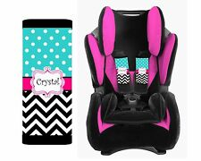 PERSONALIZED BABY TODDLER CAR SEAT STRAP COVERS BLACK CHEVRON BLUE POLKA DOTS