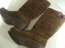 Crocs Cobbler Winter Boots Buckle Brown Suede Knee High Insulated Shoes Womens 7