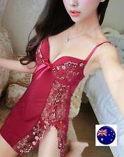 Women Babydoll Sexy Lace Red Strap Chemise Wire Nighties Sleepwear Sleep Dress