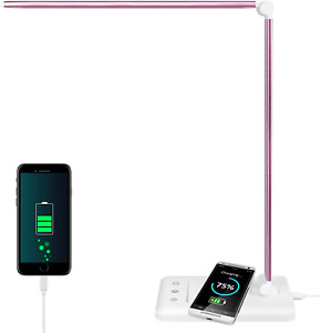 LED Desk Lamp with Wireless Charger, USB Charging Port Dimmable Aluminum Table 5