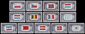 United States #909-921 Mint 1944 Overrun Nations Flags