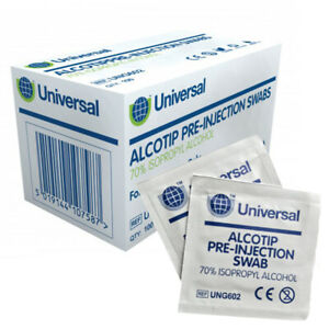 Pre Injection Alcotip Wipes / Swabs 70% ISOPROPYL ALCOHOL ~ x50 x100
