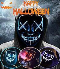 Mascara Purga LED Halloween Terror MáScaras,MáScara Disfraz (Azul)