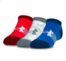 UNDER ARMOUR UA Next Statement No Show Socks 3Pack Red Wht Blue Boys Youth 4Y-8Y
