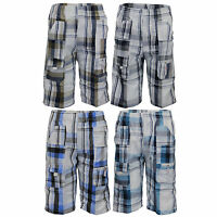 boys combat cargo checked shorts kids 3/4 length tartan sports casual summer new