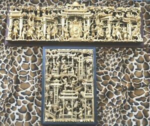 Antique Estate Old Chinese 2 D Wood Panels Carved in Asian Chinese Gilt Wood