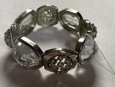Chico's NEW Silver Tone Stretch Bracelet w/ Rhinestones & Glass Beads