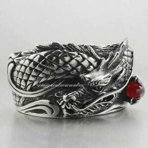 CZ Dragon Ball 316L Stainless Steel Bracelet Mens Biker Punk Dragon Cuff Bangles