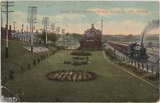 1917 HAMILTON Ontario Canada Postcard GRAND TRUNK RAIROAD STATION Depot Steam