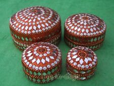 Assortiment Lot 4 Boites Paillettes 100% Artisanat Inde Orange