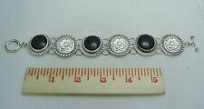 """STERLING SILVER & ONYX 8 1/2"""" STATEMENT BRACELET WITH TOGGLE CLASP 315-O"""