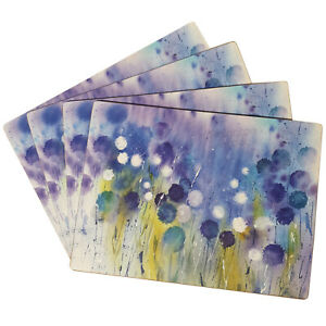 Set of 4 Cork Placemats Abstract Floral Watercolour Blue New Dining Table Mats