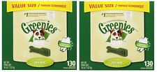 (2) GREENIES 36OZ VALUE CANISTER TEENIE BONES. 130CT.