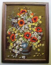 Vtg Floral Poppy Daisy Bouquet Needlepoint Completed Finished Green Background