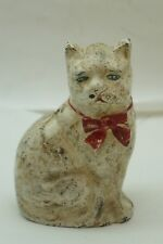 VINTAGE CAST IRON BANK HUBLEY CAT STILL COIN PENNY RED BOW BLUE EYES ORIGINAL