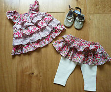 Immaculate Baby Gap Frilly Leggings, Top and Brand New Leather Shoes, 0-3 mths