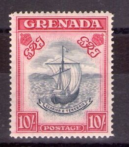 GRENADA G.VI SG163a 10/- Steel blue/bright carmine line perf L/hinged Cat.£225.