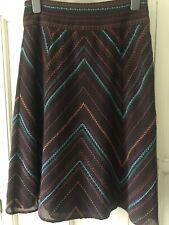 Monsoon Size 8 Knee Length A Line Skirt Embroidered Zig Zag Brown Wool