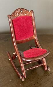 BESPAQ Vintage FOLDING ROCKING CHAIR 1:12 Dollhouse Miniature