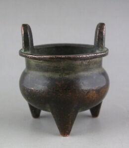 Tibet Old purple Copper Buddhism Small incense burner Mark