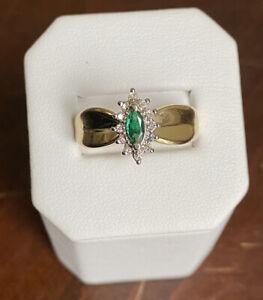 14K Yellow Gold .15 CT Deep Green Marquise Cut Emerald & Diamond Ring - Sz 8.75