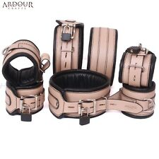 Real Cow Hide Leather Wrist  Ankle & Thigh Cuffs  Collar 7 Pieces Set Padded