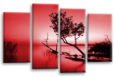 Floral Wall Art Picture Red Grey Landscape Lake Trees Canvas Split Panel