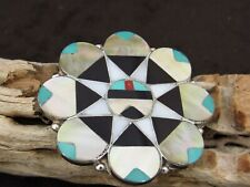 Pendant and Pin Zuni Multi-Color Sunface Inlay