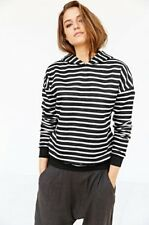 NEW WOMEN'S ONE TEASPOON BLACK MADE FOR HOODED TOP HOODIE STRIPED SIZE EX SMALL