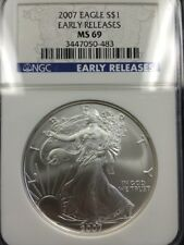 2007 $1 US American Silver Eagle NGC MS 69 Early Release Blue Label
