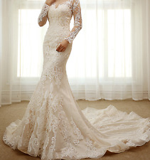 New White Ivory A Line Lace Sweetheart Bridal Wedding Dress with Chapel Train