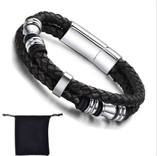 Black Leather Silver Tone Stainless Steel Braided Men's Bracelet Wristband Cuff