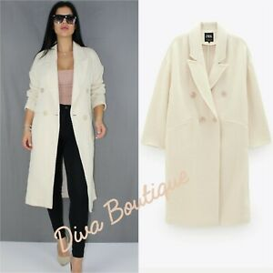 Zara AW 2019/20 Double Breasted Structured Coat Size L Free P&P Brand New