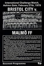 1978/79 Bristol City V Malmo FF, amistoso, Perfecto Estado