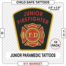 Junior Firefighter Tattoo 10 Pack Patch Badge Kids Removable Washable Safe  D 13