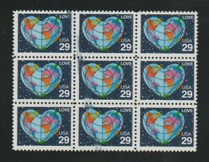 US EFO, ERROR Stamps: #2535a Love Perf. 11. Ink smear block of 9. MNH