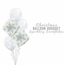 Party Supplies Christmas Winter Frozen White Snowflakes Foil Balloons Bouquet